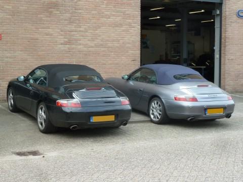 Porsche 996, softtop Sonnenland A5 zwart & blauw met glazen achterruit