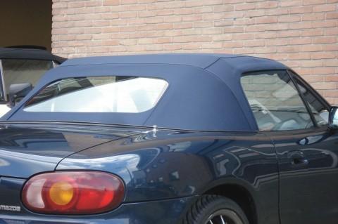Softtop Mazda MX5 NB stof blauw, glazen verw. ruit