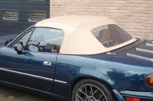 Achterruit Mazda MX5 NA vinyl beige pvc ruit,rits