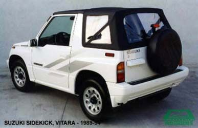 Softtop Suzuki Vitara zwart vinyl, geel kenteken